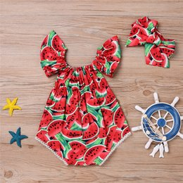 Wholesale Girls Fashion Sleeveless Top - Fashion Baby Clothes Suit 2Pcs Set Newborn Kids Girls Watermelon Summer Style Butterfly Sleeve Romper Jumpsuit Headband Outfits Top Playsuit