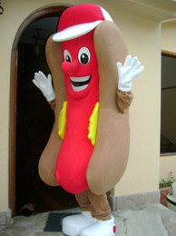 Wholesale Hot Dog Hotdog Mascot Costume - HOT DOG HOTDOG MASCOT COSTUME Adult Size Fancy Dress Cartoon Character Party Outfit yourself free shipping