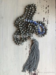 Wholesale Pyrite Chain - Knot Pyrite and Aagte Beads Necklace Metal Chain Tassel Necklace