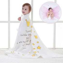 Wholesale Newborn Baths - Muslin wrap blankets 2 layers cotton gauze soft breathable children swaddle adult bath towel newborn receiving blankets