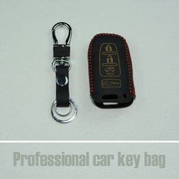 Wholesale Hyundai Keyless - 4 buttons Leather Car Smart Key Case Cover shell keyless For HYUNDAI Elantra Sonata Veloster Verna I30 IX45 Smart Key