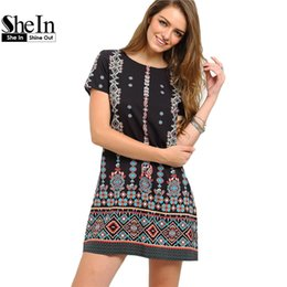 Wholesale Blue Aztec - Wholesale- SheIn 2016 Summer Style Black Aztec Print Shift Short Dresses Women Short Sleeve Round Neck Above Knee Vintage Dress