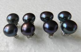 Wholesale 14mm Freshwater Pearls - new 1Pairs 13-14mm Fashion Black Freshwater Pearl Earrings 925 Silver Stud