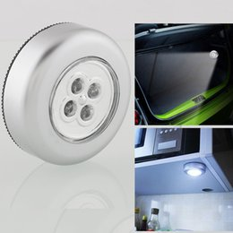 Wholesale Mini Car Lamp - Wholesale- Hot Selling Mini Wireless 4 LED Stick Tap Touch Night Light Battery Powered Cabinet Closet Wall Lamp for Car