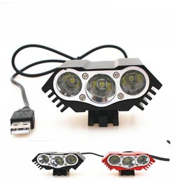 Wholesale cycling head torch - 8000lm LED 3* XM-L T6 LED 5V X3 Front Bicycle Cycling Lamp Bike light Headlamp USB 4 Mode Flashlight torch headlight