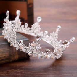 Wholesale Beauty Pageant Tiaras - Luxuious Crystals Beading Colorful Bridal Tiaras High Fashion Round Beauty Pageant Crowns Wedding Headpieces Accessories 2017