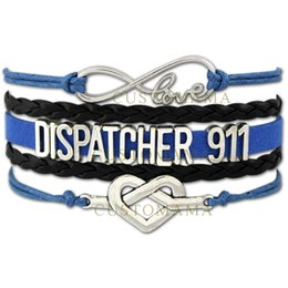 Custom bracelet online-Custom-2017 Hot Infinity Love Dispatcher 911 Double Heart Charm Bracelet Wax Cords Wrap Pulsera de cuero trenzado ajustable-Drop Shipping
