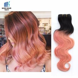 Wholesale brazilian gold - 300g T 1b Pink Rose Gold Ombre Human Hair Weave Bundles Two Tone Good Quality Colored Brazilian Body Wave Peruvian Malaysian Indian Hair