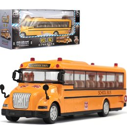 Wholesale Toy Buses American - 1:55 Large American school bus can open alloy light back car model school bus for children toys