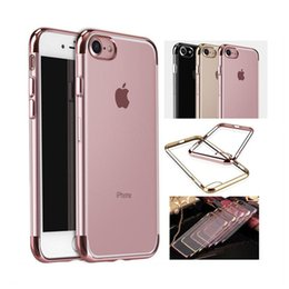 Wholesale Iphone Top Bottom - New Electroplate Transparent TPU Case For iPhone 7 Plus 6 6S Plus & Top Bottom Electroplating Soft Clear Phone Back Cover Support Mix model