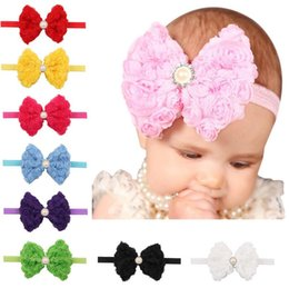 Wholesale Double Headband Plastic - Good A++ Double embroidered rose children headband hot chiffon bow with headdress TG092 mix order 30 pieces a lot