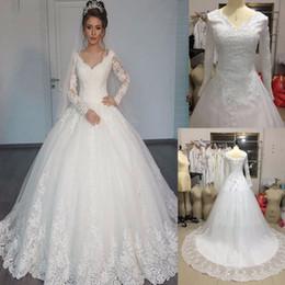 Великолепные прозрачные свадебные платья 2017 Пышная юбка с кружевной аппликацией белого цвета с длинными рукавами Арабский бальные платья Robe de mariage Real Photos от