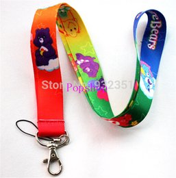 Wholesale Care Bear Wholesale - Care bears Lanyard  MP3 4 cell phone  keychains  Neck Strap Lanyard wholesale 50pcs Free shipping
