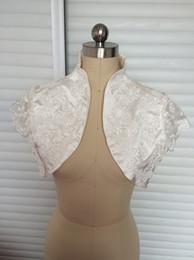 Wholesale Ladies White Satin Jackets - Gorgeous Off Shoulder Jackets Short Sleeves White Ivory Bridal Jackets Ladies Jackets for Wedding Made of Lace Over Mini Coat