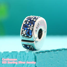 Wholesale Charm Clip Lock - 2017 Summer Blue Crystals & CZ Mosaic Shining Elegance Lock Clips Bead Fit Pandora Bracelet 925 Sterling Silver Clip Charm Beads