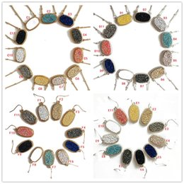 Wholesale Wholesale Druzy Earrings - Druzy Drusy Necklace Earrings Jewelry Set Silver Gold 11COLORS Geometry Stone Necklaces Best for Lady New York Brand Jewelry
