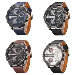 Wholesale Military Clock Time - Famous Designer Mens Watches Top Brand Luxury Quartz-Watch Oulm Leather Strap Big Face Military Quartz Clock relogio masculino