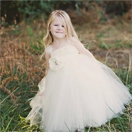 Wholesale Wholesale Tea Length Dresses - 5pcs White Ivory Floral Decor Tulle Dress Flower Girl Ball Gown V Knot Tie Kid Dance Wear for Holiday Party