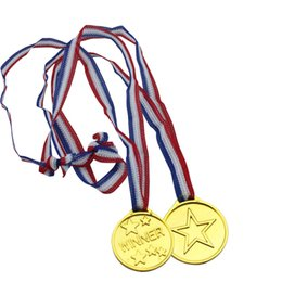 Wholesale Awards Wholesalers - Wholesale- 50pcs Lot Medals Toys Medallion Supplies Party Gold Winner Fun Prize Awards Sports Plastic Party Supplies