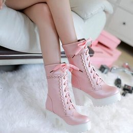 Wholesale Lolita Winter Boots - New Arrival Hot Sale Specials Super Fashion Influx Martin Retro Knight Warm Sweety Lolita Lace Up Platform Heels Party Ankle Boots EU34-39