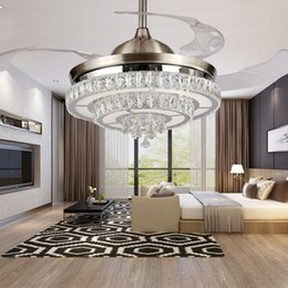 Wholesale Led Ceiling Color Changing - LED 42inch 108cm 4 color changing light K9 Crystal Ceiling Fan Modern Contemporary Living Room Remote Control Led Fan Lights Bedroom 85-265v