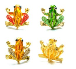 Wholesale Vintage Frog Woman - Wholesale- Frog Brooches Fashion Jewelry Accessories Brooch For Girl Vintage Lovely Crystal Rhinestone Scarf Pins Brooches For Women