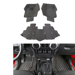 Wholesale Fitted Floor Mats - Car Carpets Foot Rugs Cushion Floor Mats Leather foot mat 4 Door Fit For Jeep Wrangler 2007-2016