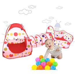 Wholesale Kids Play Teepee - Foldable Children Tent Pool-Tube-Teepee 3pc Pop-up Play Tent Toy Tunnel Kids Play House Ball Pool For Indoor Ourdoor Play Tents