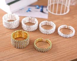 Wholesale High Quality Stretch Bracelets - High Quality 1-5 Row Bridal Wedding Cuff Bangle Bracelet Big Crystal Rhinestone Stretch Wristband Hot Sale Jewelry Accessory for Women