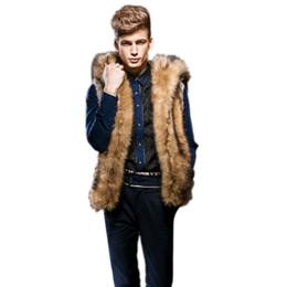 Wholesale Men Faux Fur Coat - Wholesale- Hot Sale Luxury Quality Male Mens Faux Fur Hoodies Jacket Vest Winter Fashion Sleeveless Hooded Outerwear Slim Vest Coats N291