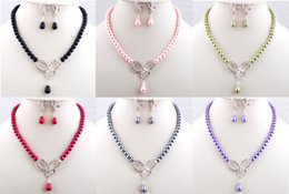 Wholesale Cheap Pink Rhinestone Jewelry Necklace - Bridal Hollow Bowknot Crystal Pearl Jewelry Set Pearl Rhinestone Earrings Necklace Set Cheap Price Party Jewelry for Women Girls Bridesmaid