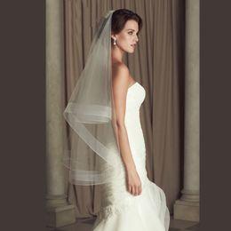 "Wholesale Red Horsehair - Wedding Accessories Ribbon Edge Fingertip Veil with 2"" Horsehair Trim Fingertip Wedding Veil Bridal Veil Crinoline 2 Tier Veils Customized"