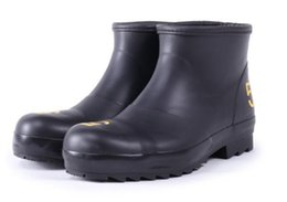Wholesale Ankle Wellies - Wholesale- Brand New Men Rubber Glossy Rain Boots Anti-slip Ankle Rainboots Male Water Shoes Wellies Boots Size 40-50 #TS20
