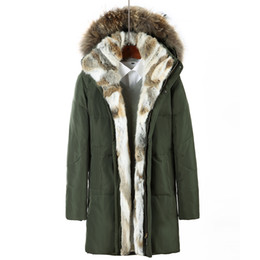 Wholesale Mens Fur Hood Parka - Raccoon Fur Hood Down Parkas Winter Jacket Long Coats Mens Outwear Overcoats Snow Jackets Warm Thickening Plus Size Clothing 2017 4XL 5XL