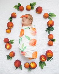 Wholesale Towel Gift Wrapping - baby fruit cotton nursery bedding towelling for photograph baby blanket gift sets arrow printed wrap swaddle with headband
