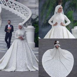 Collo alto manica lunga arabo hijab musulmano Abiti da sposa 2018 Appliques  romantico pizzo bianco abiti da sposa Corte dei treni abiti da sposa ... 58fdab35489