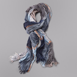 Wholesale Gray Plaid Scarf - Wholesale- Wholesale Brand Winter Scarf Men Warm Soft Tassel Bufandas Cachecol Gray Plaid Woven Wrinkled Cotton Men Scarves