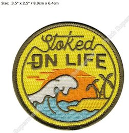 Wholesale Iron Patches Baseball - Stoked on Life Beach Bum Wave Rider Ocean Surf Travel Souvenir Patches Outdoor Clothing Iron On Badge for bag baseball cap