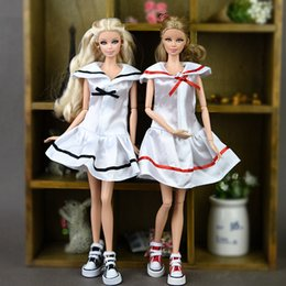 Wholesale Sailor Clothes For Girl - Doll Clothes Cosplay Costume Sailor Dress Student Clothes For Barbie Doll Sailor Suit Dresses For 1 6 BJD Dolls Accessories
