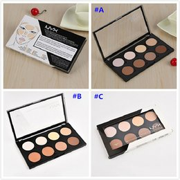 Wholesale Dark Shadows Makeup - Best Christmas gift 12pcs NYX Highlight Contour Pro Palette Powder 8 Shadow Foundation Face Palette Full Size In Box Makeup