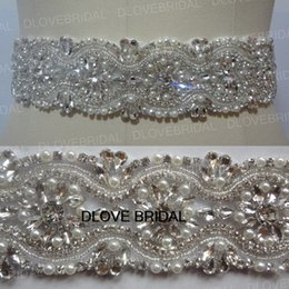Wholesale Wedding Dress Pink Ribbon - Real Photo Luxury Crystal Bridal Sashes Belts Free Size Shinny Pearl Rhinestone Belts with Ribbon Free Shipping Wedding Prom Dress Accessory