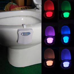 Wholesale Toilet Night Light Motion Sensor - IR induction LED Toilet Light 8 Colors toilet nightlight motion activated Bathroom Human Body Auto Motion Activated Sensor Seat Light Night