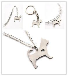 Chihuahua fascini online-Tazza da tè Chihuahua cane collana fascino cuore carino animale domestico amo cani fascino ciondolo collana braccialetto portachiavi segnalibro