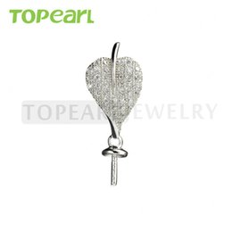 Wholesale sterling silver jewelry blanks - 9PM156 Teboer Jewelry 5pcs LOT Cubic Zirconia Heart Pearl Drop Pendant Blanks 925 Sterling Silver Mountings