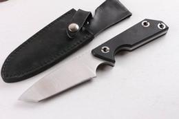 couteau tanto personnalisé Promotion Couteaux personnalisés - Couteau droit de survie 7Cr17 Tanto Lame Tanto Satin G10 Manche Couteaux Lame fixe avec étui en cuir