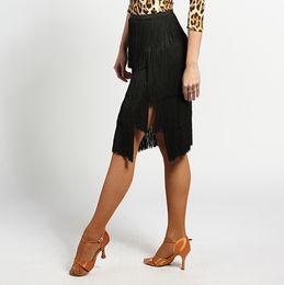 Wholesale Ladies Leopard Print Skirts - Fantasia Latin Dancing Dresses For Ladies Leopard Print Tassel Skirts Professional Women Lady Tango Square Stage Ballroom Garment Q1031