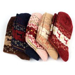 Wholesale Acrylic Snowflakes - Wholesale- 2016 New Christmas Snowflake Deer Design Womens Wool Socks Winter 5pair lot christmas gift