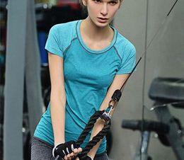 Wholesale Yoga Gym Shorts Women - Dry Quick gym yoga shirt compression tights women's sport t shirts running short sleeve t-shirts fitness