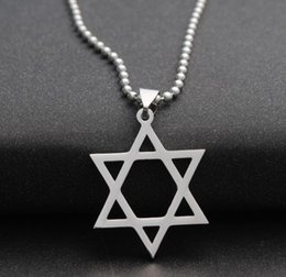 Wholesale David Star Pendant Necklaces - Trendy Silver Hexagram Design Necklaces Star of David Charm Pendant Necklace With 50cm Chain For Men Women Wholesale Jewelry