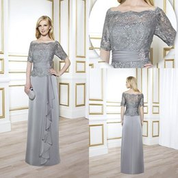 Wholesale Vintage Grey Mother Dress - Vintage Mother of The Bride Groom Grey Sliver With Lace Half Long Sleeves Sexy 2017 Formal Ball Gowns Suits Dress Sheer